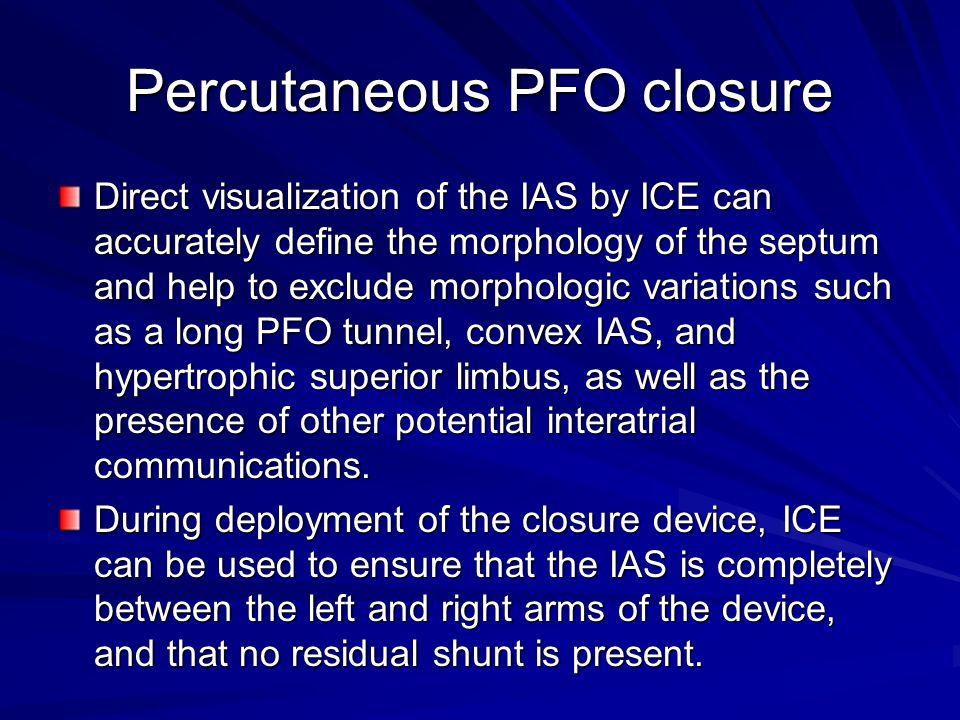 Percutaneous PFO closure
