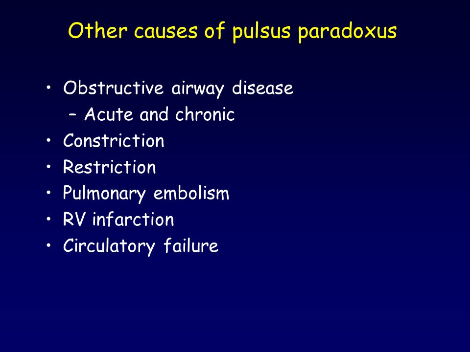 Other causes of pulsus paradoxus