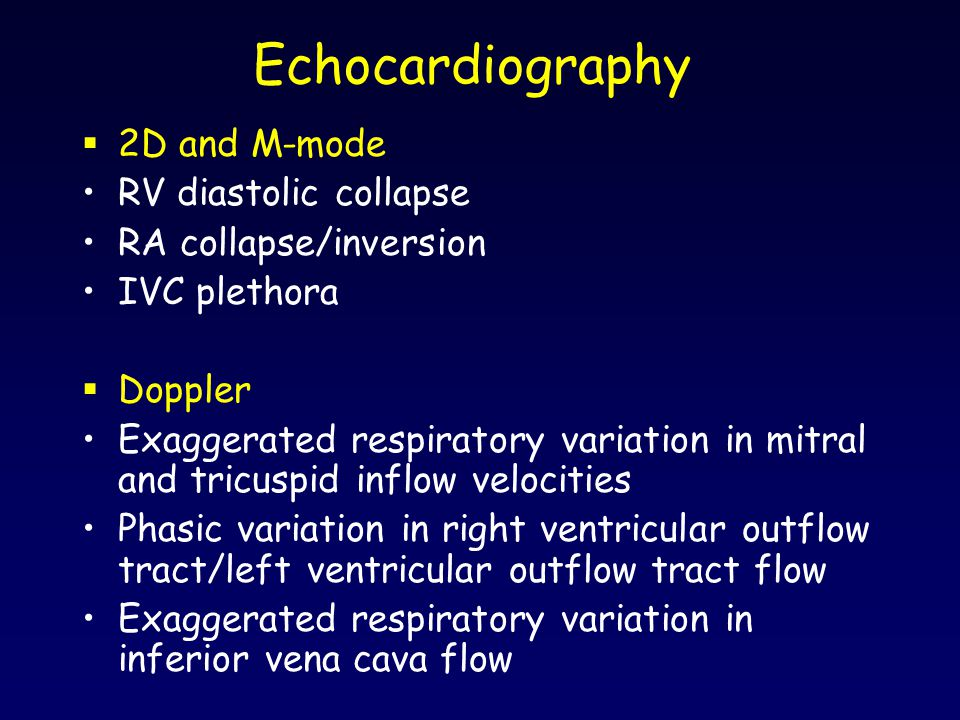 Echocardiography 2D and M-mode RV diastolic collapse