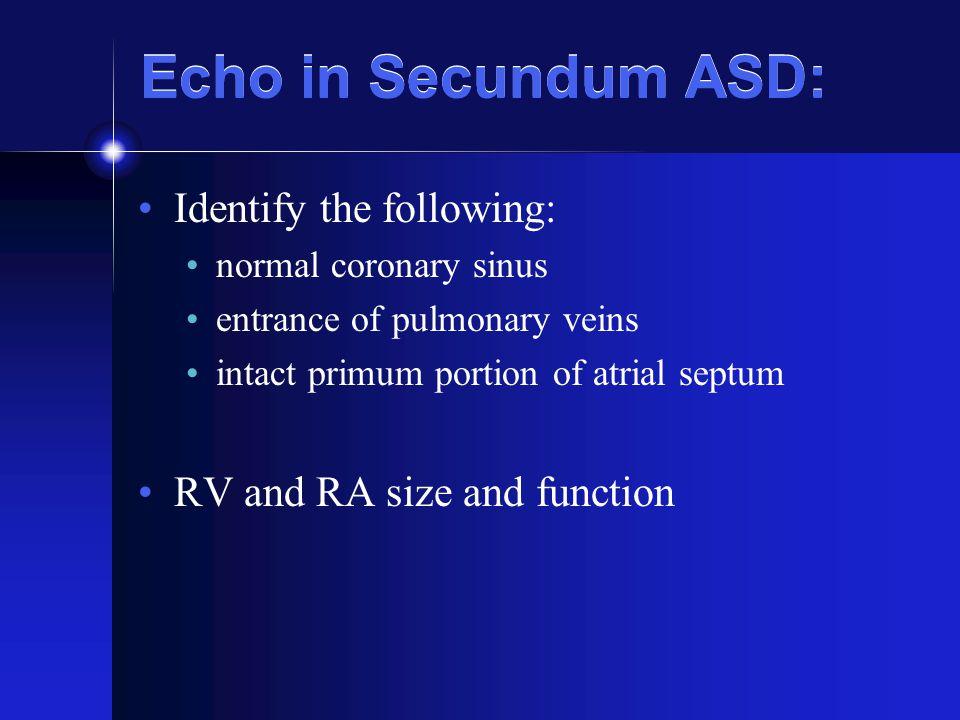 Echo in Secundum ASD: Identify the following: