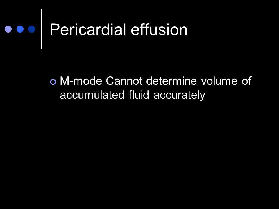 Pericardial effusion M-mode Cannot determine volume of accumulated fluid accurately