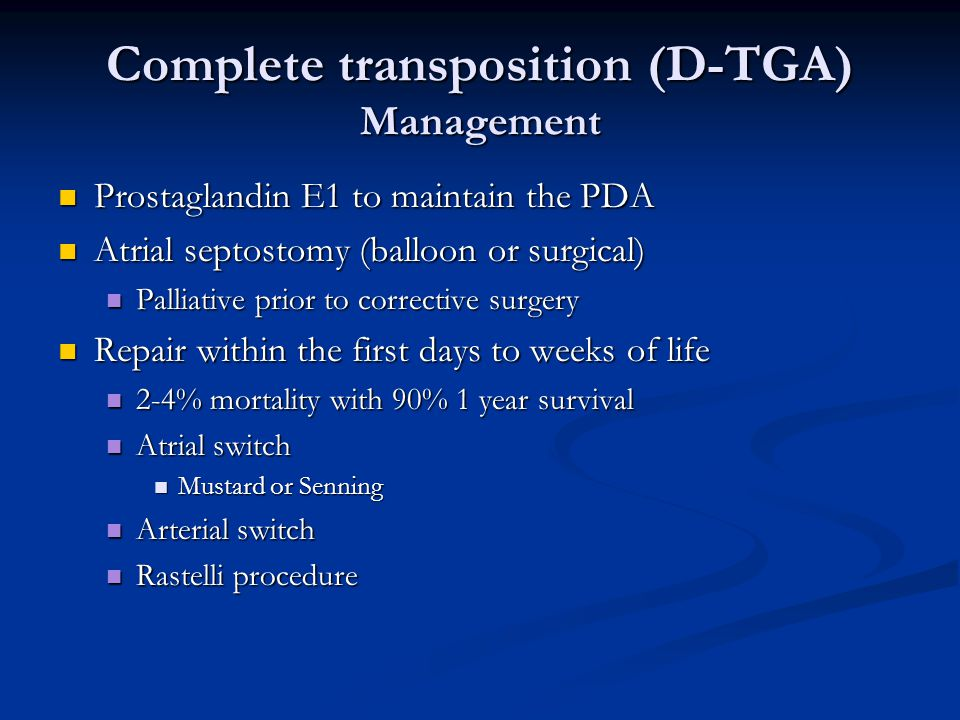 Complete transposition (D-TGA) Management