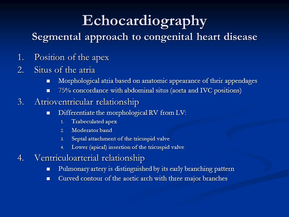 Echocardiography Segmental approach to congenital heart disease