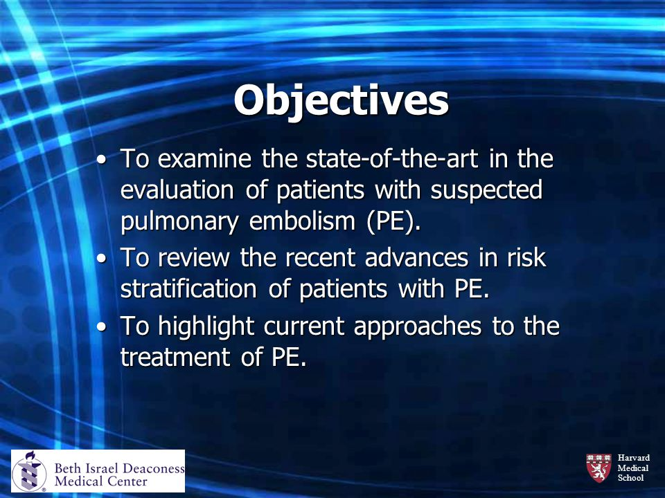 Objectives To examine the state-of-the-art in the evaluation of patients with suspected pulmonary embolism (PE).
