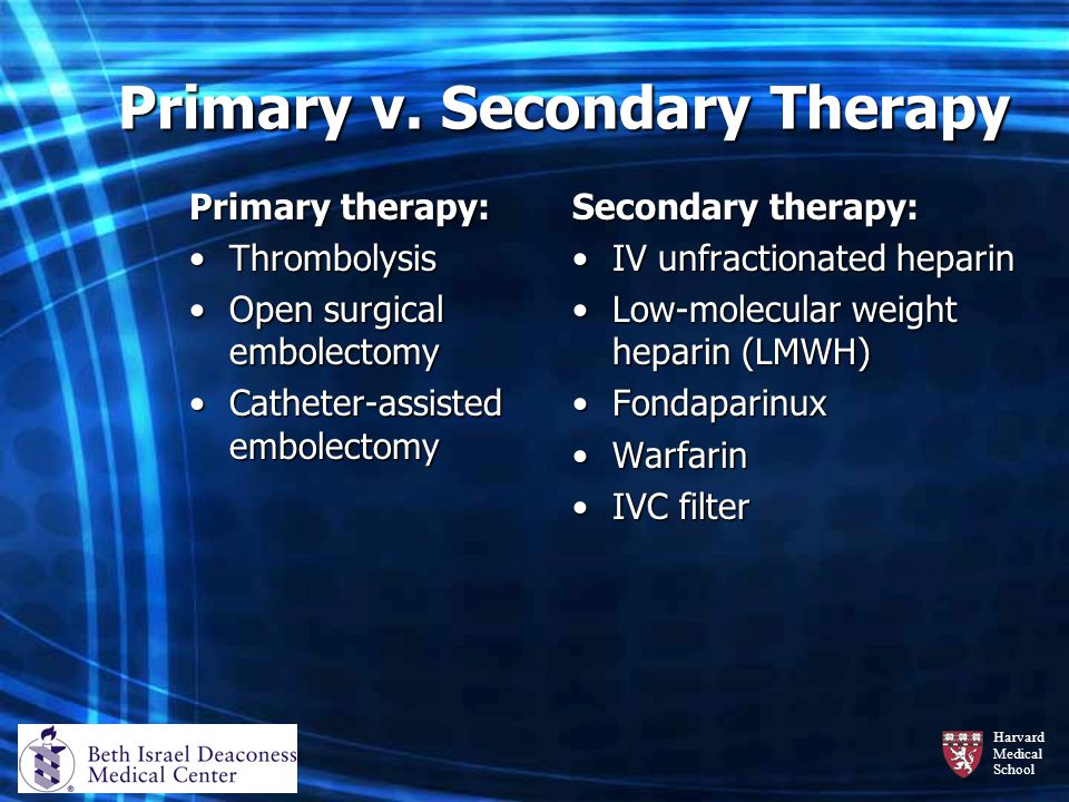 Primary v. Secondary Therapy