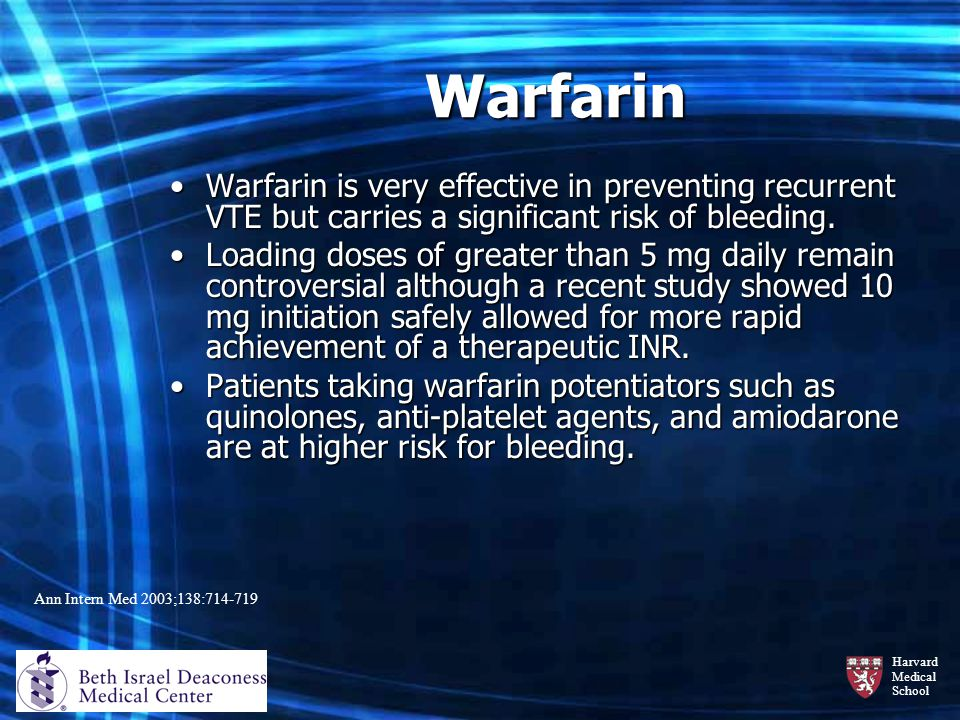 Warfarin Warfarin is very effective in preventing recurrent VTE but carries a significant risk of bleeding.
