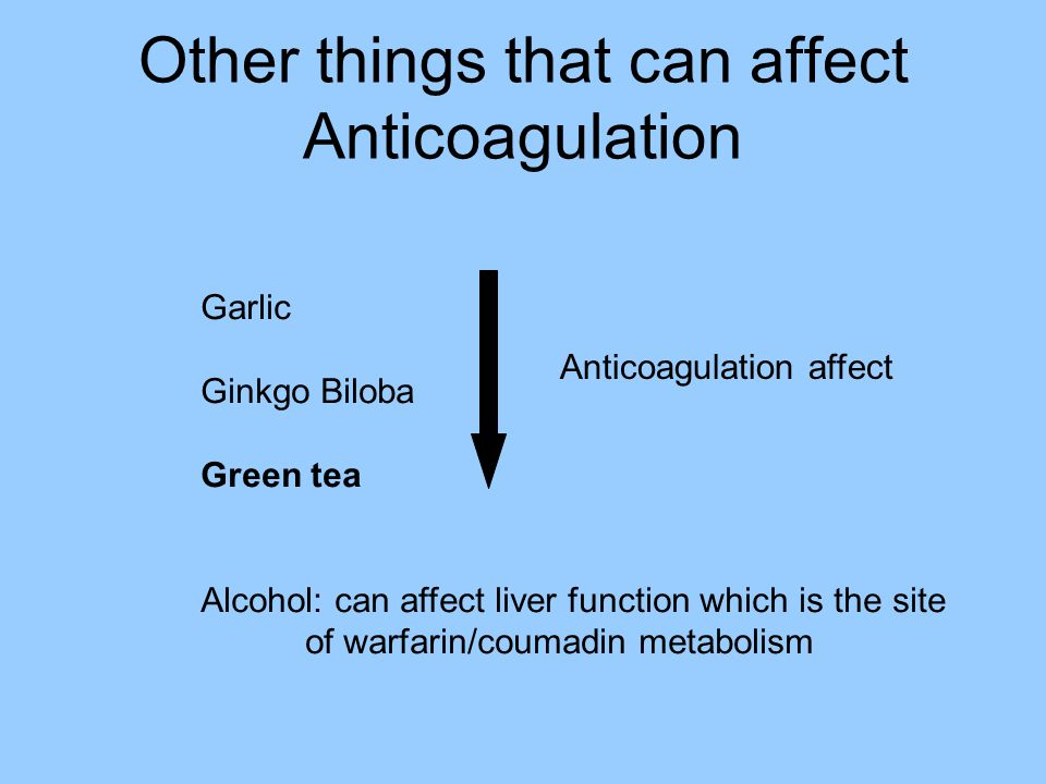 Other things that can affect Anticoagulation