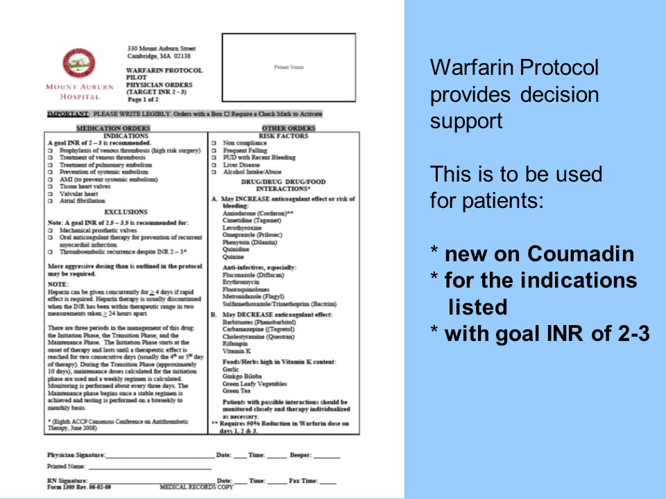 Warfarin Protocol provides decision. support. This is to be used.