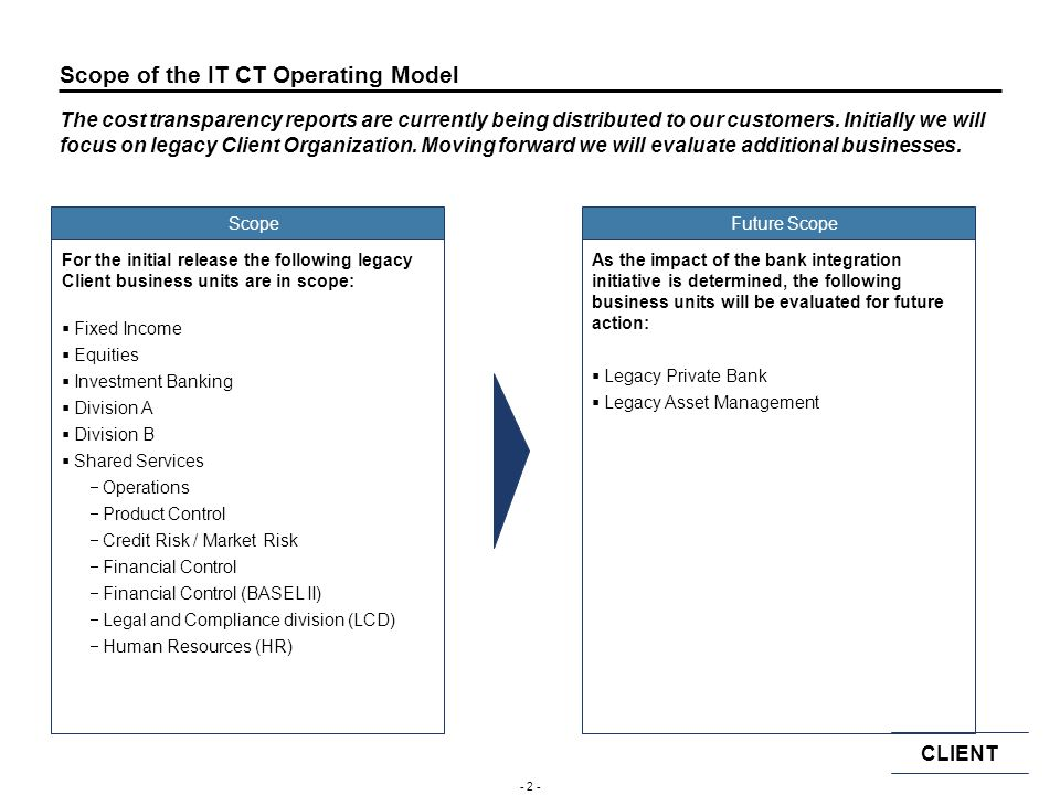 Scope of the IT CT Operating Model