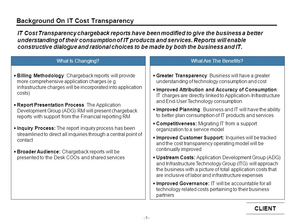 Background On IT Cost Transparency