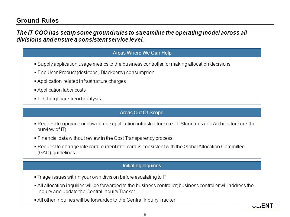 Ground Rules The IT COO has setup some ground rules to streamline the operating model across all divisions and ensure a consistent service level.