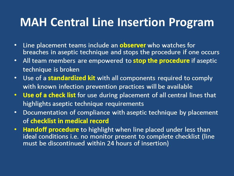 MAH Central Line Insertion Program