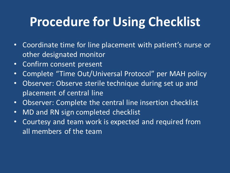 Procedure for Using Checklist