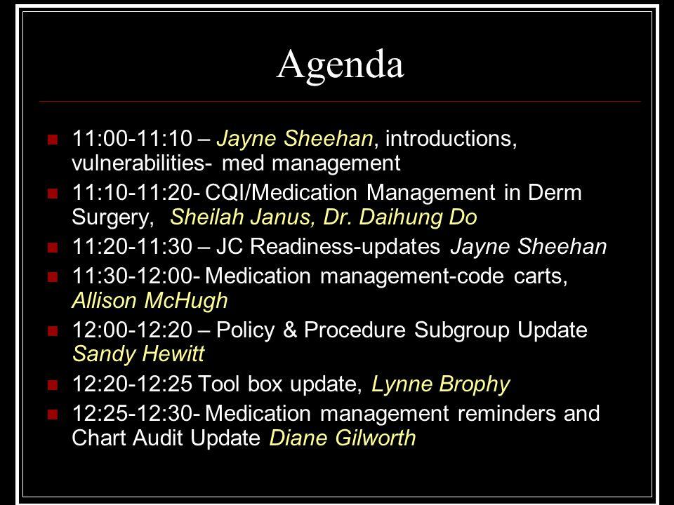Agenda 11:00-11:10 – Jayne Sheehan, introductions, vulnerabilities- med management.