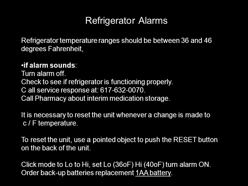 Refrigerator Alarms Refrigerator temperature ranges should be between 36 and 46 degrees Fahrenheit,