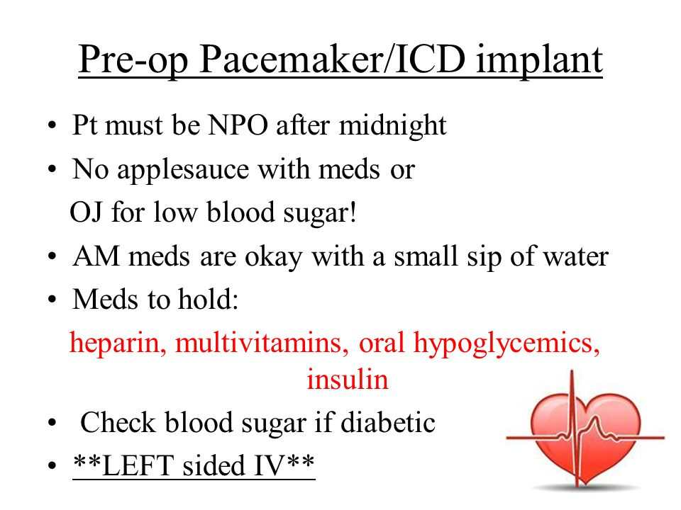 Pre-op Pacemaker/ICD implant