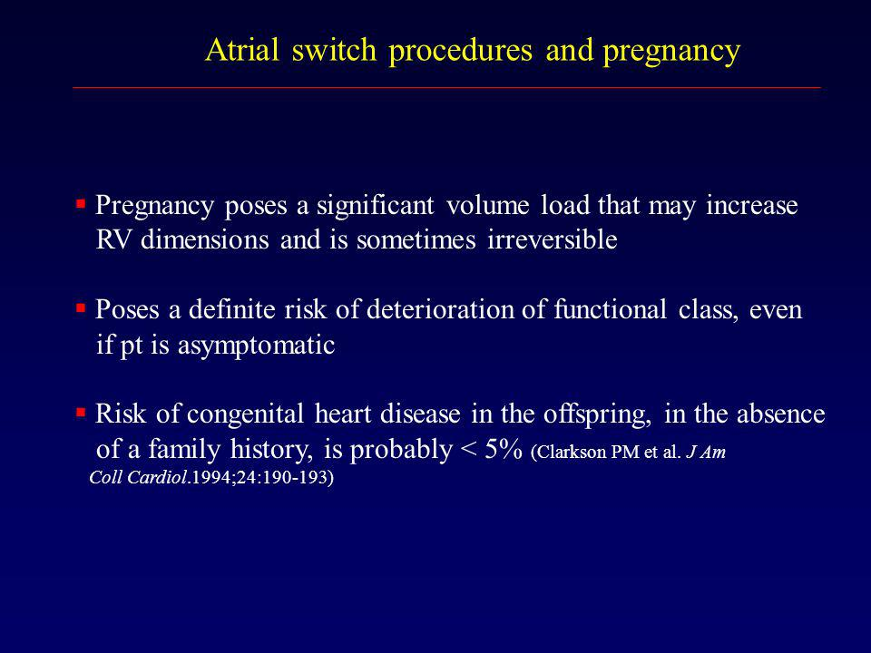 Atrial switch procedures and pregnancy