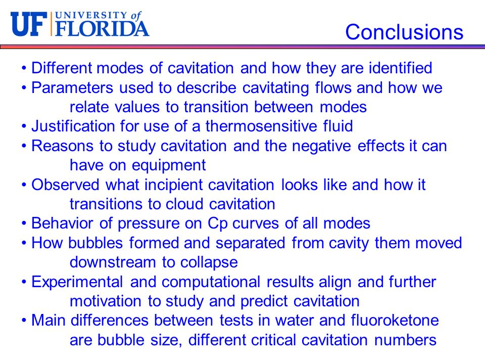 Conclusions Different modes of cavitation and how they are identified