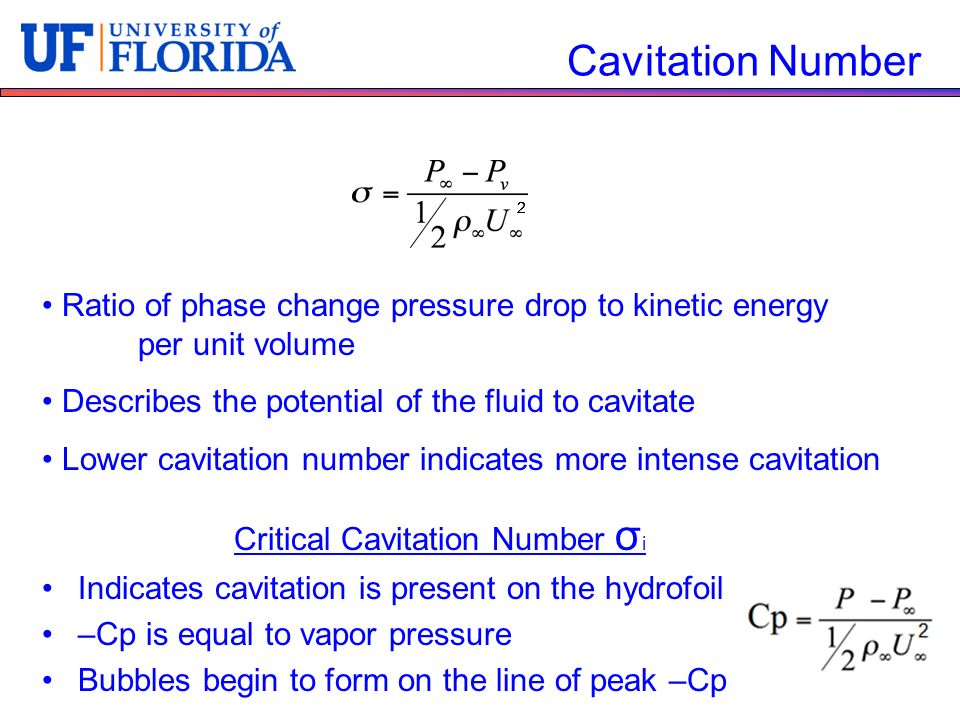 Critical Cavitation Number σi