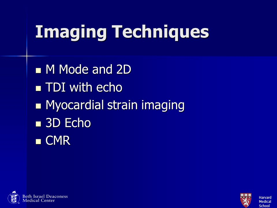 Imaging Techniques M Mode and 2D TDI with echo