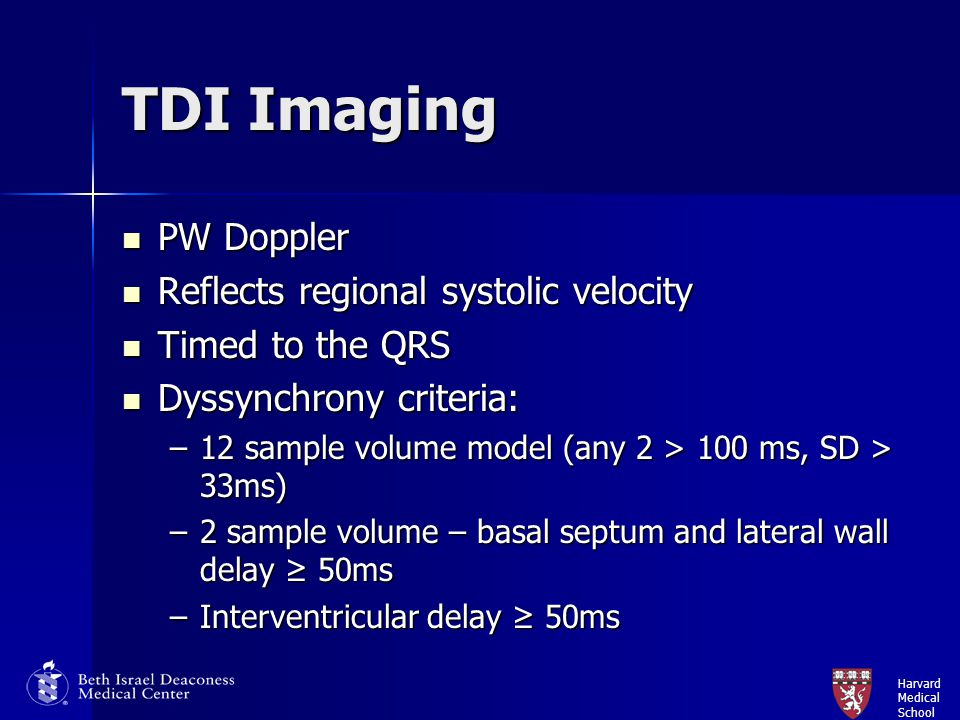 TDI Imaging PW Doppler Reflects regional systolic velocity