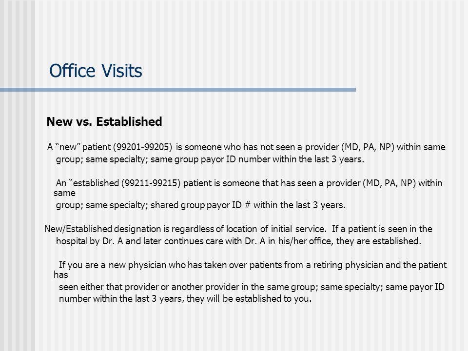 Office Visits New vs. Established