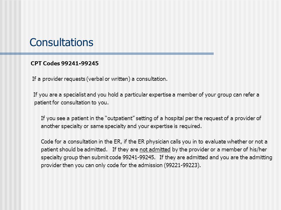 Consultations CPT Codes 99241-99245