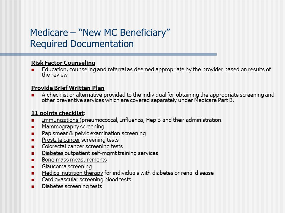 Medicare – New MC Beneficiary Required Documentation