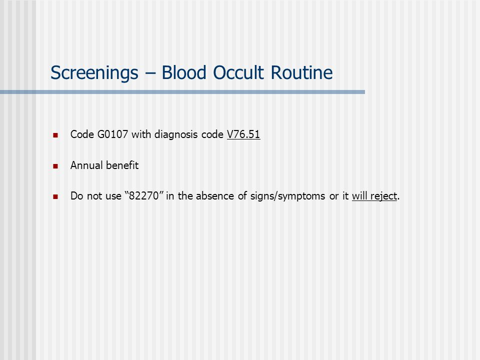 Screenings – Blood Occult Routine