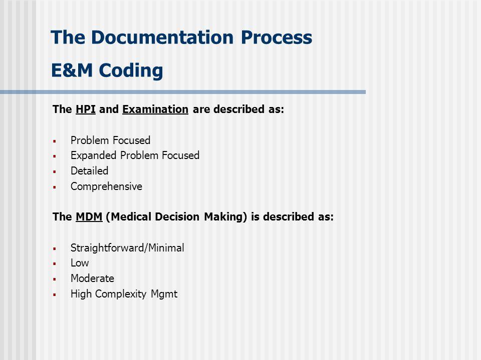 The Documentation Process E&M Coding
