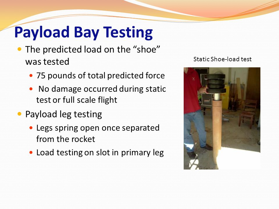 Payload Bay Testing The predicted load on the shoe was tested