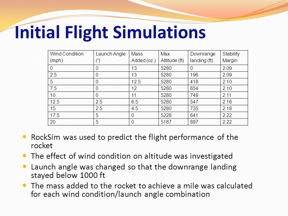 Initial Flight Simulations