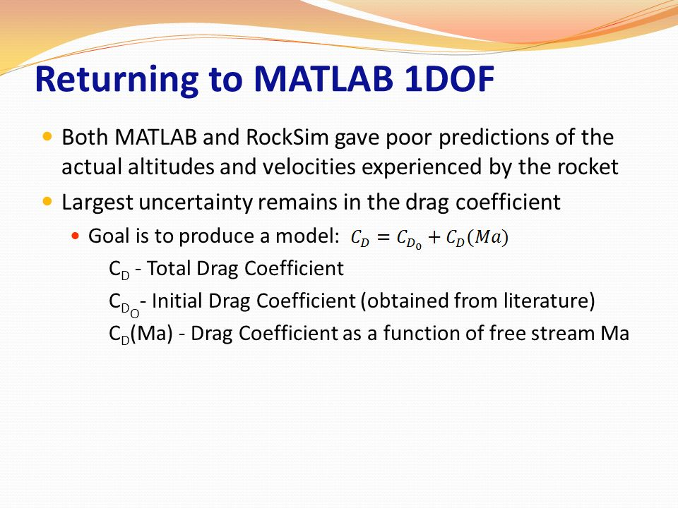 Returning to MATLAB 1DOF