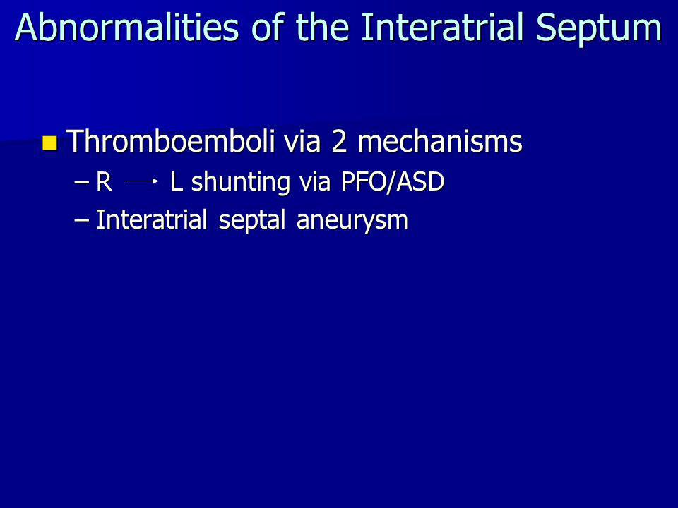 Abnormalities of the Interatrial Septum