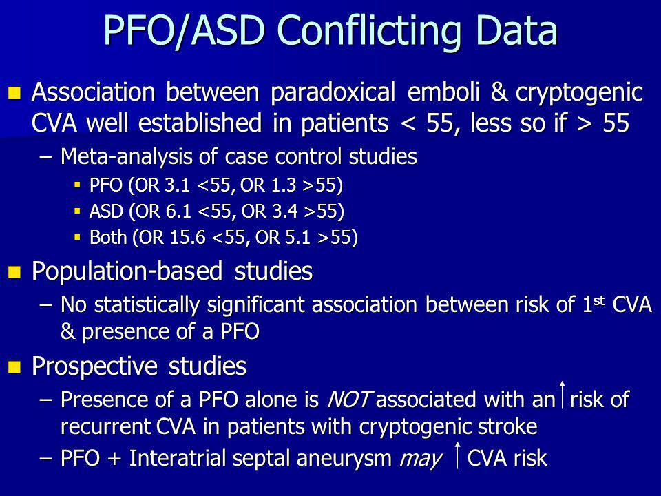 PFO/ASD Conflicting Data