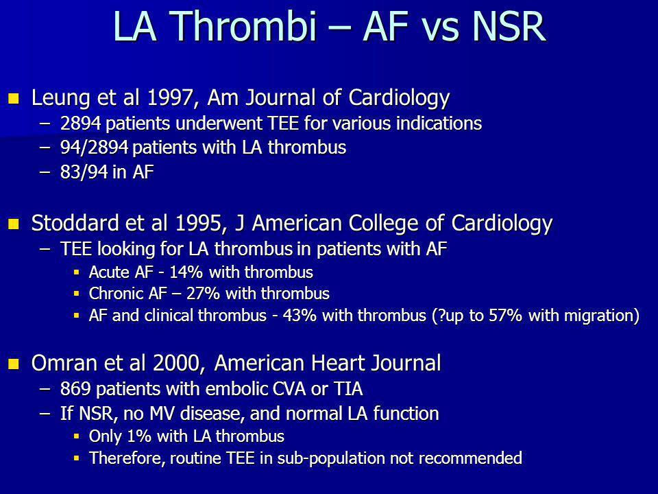 LA Thrombi – AF vs NSR Leung et al 1997, Am Journal of Cardiology