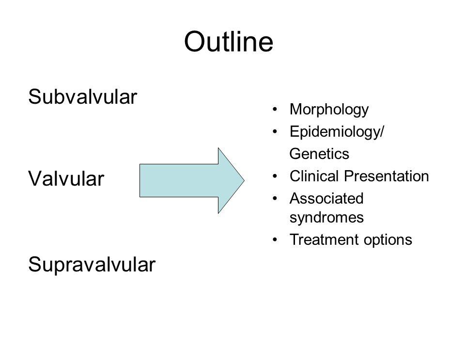 Outline Subvalvular Valvular Supravalvular Morphology Epidemiology/