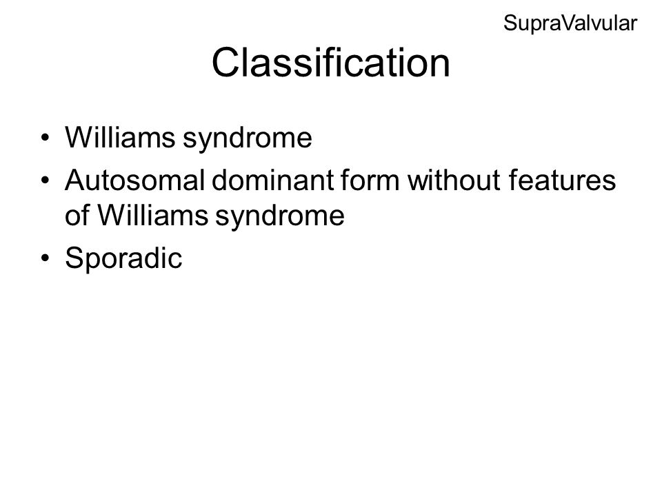 Classification Williams syndrome