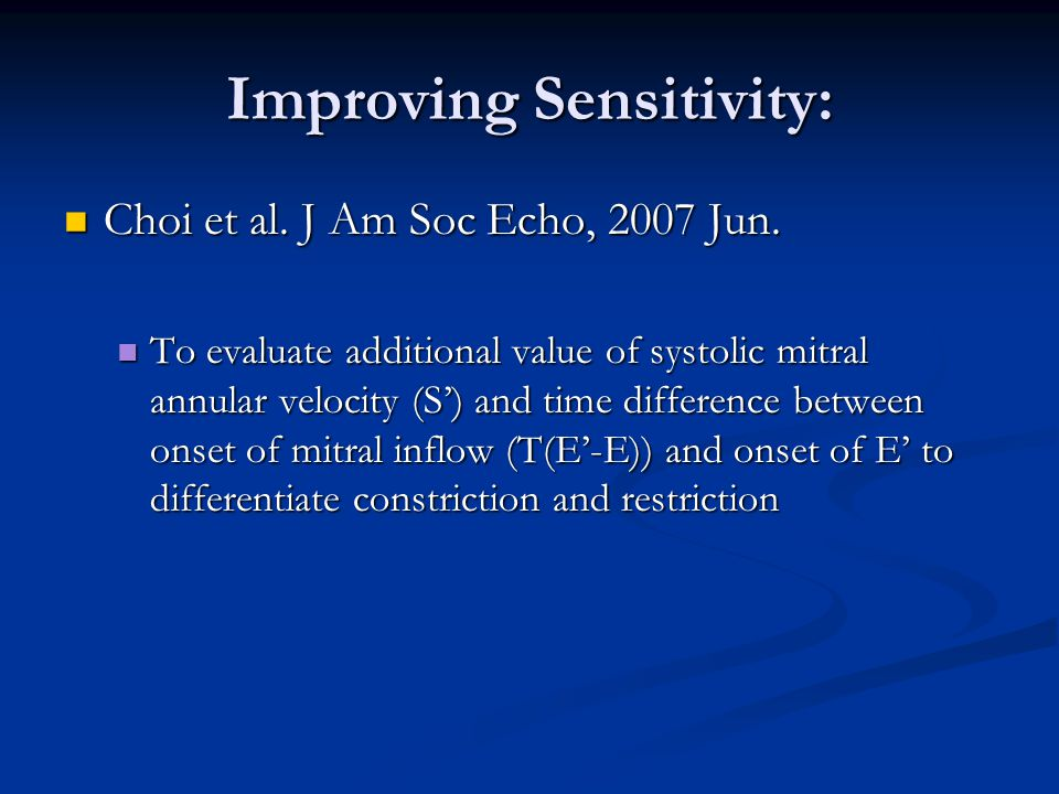 Improving Sensitivity:
