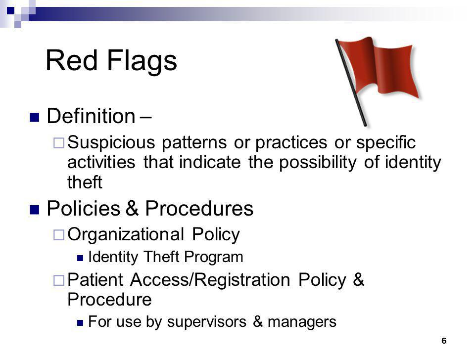 Red Flags Definition – Policies & Procedures
