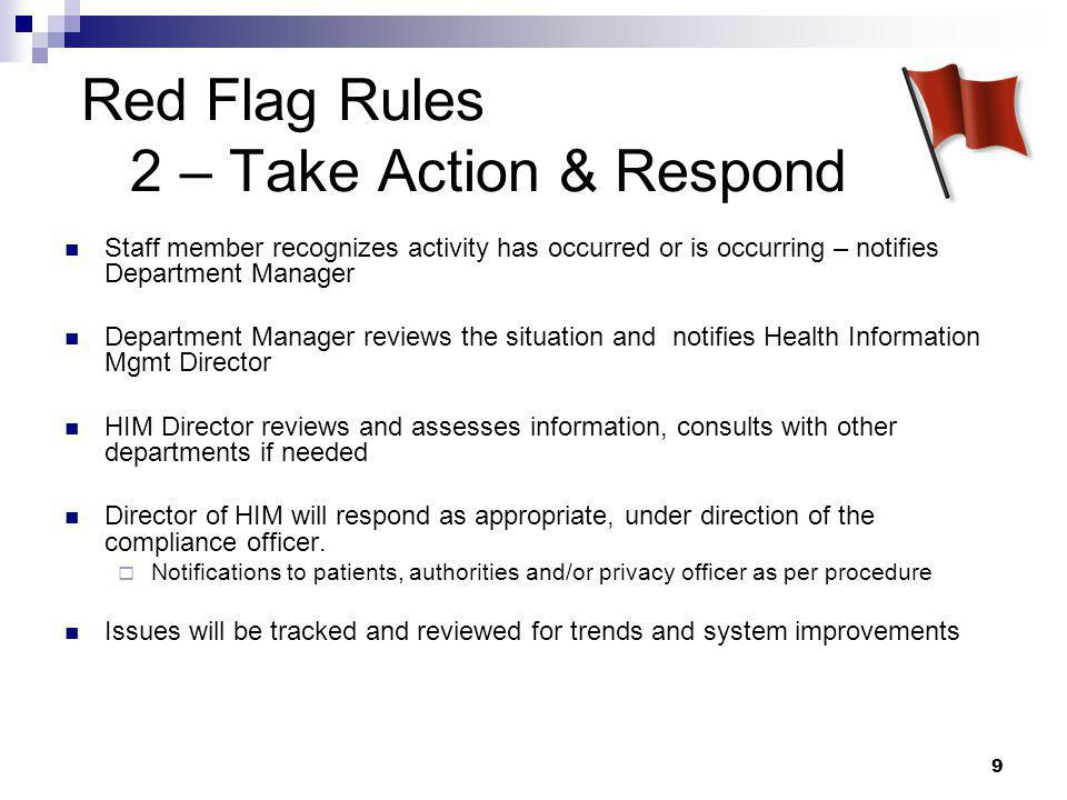 Red Flag Rules 2 – Take Action & Respond
