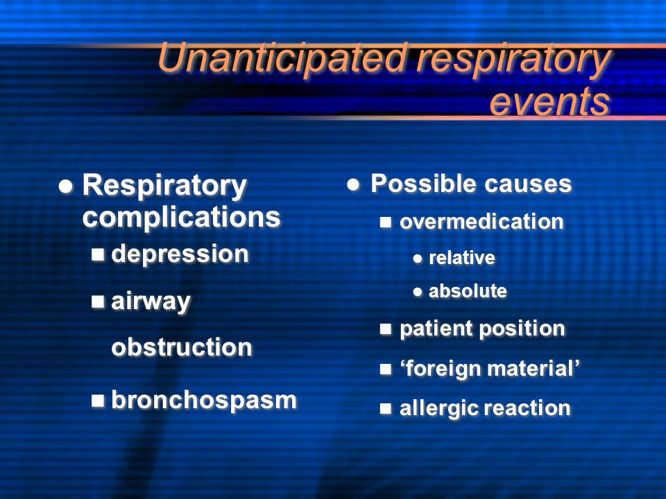 Unanticipated respiratory events