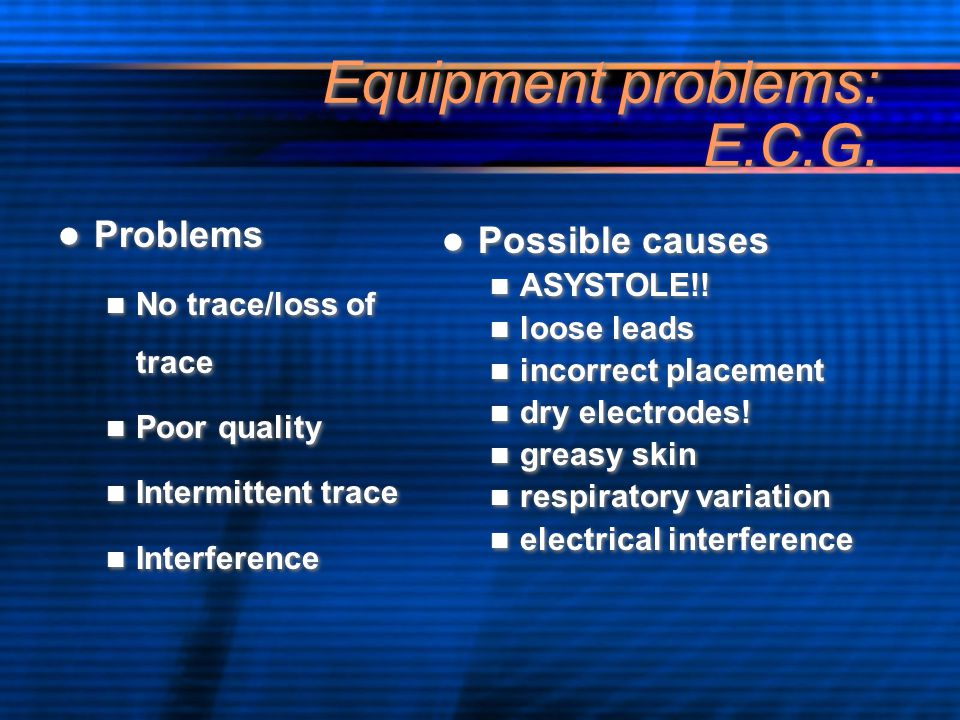 Equipment problems: E.C.G.
