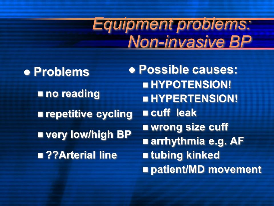 Equipment problems: Non-invasive BP