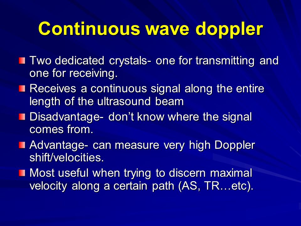 Continuous wave doppler