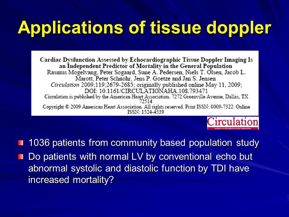 Applications of tissue doppler