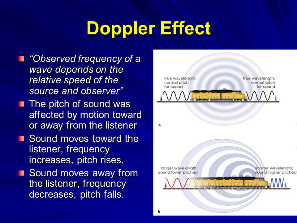 Doppler Effect Observed frequency of a wave depends on the relative speed of the source and observer
