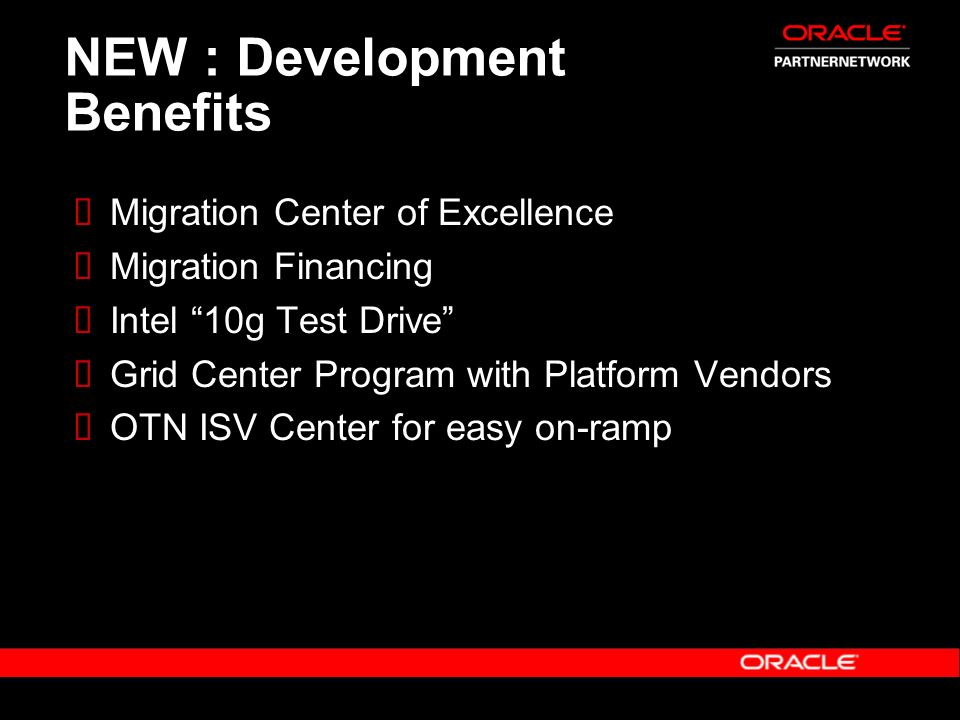 NEW : Development Benefits