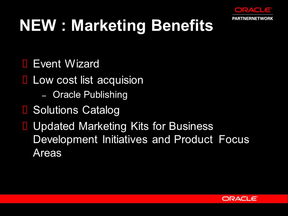 NEW : Marketing Benefits