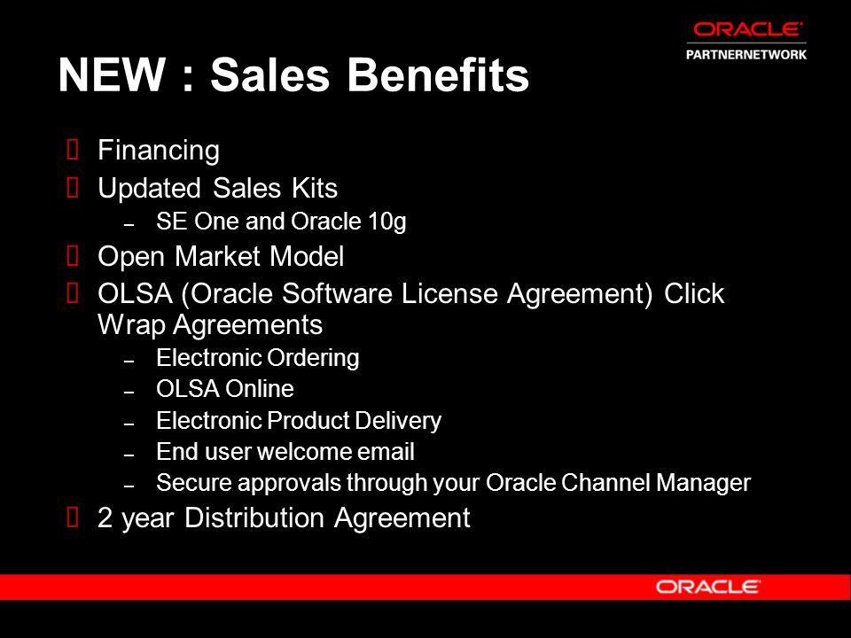 NEW : Sales Benefits Financing Updated Sales Kits Open Market Model